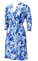 NWT Dana Buchman Women's Designer Career Dress Blue White Wrap Belt Included Fre