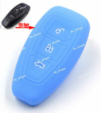 Blue Silicone Shell Remote Smart Key Case Cover For Ford Fiesta C-Max Titanium
