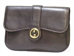 Authentic Old GUCCI Leather Clutch Vintage bag Brown Italy 18637501