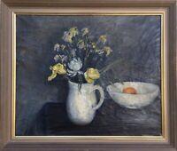 Stillleben mit Blumen, Krug und Porzellanschale Mai 1924 signiert Skandinavien