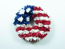 Miniature Dollhouse Patriotic Mulberry Flower Wreath with Flag of America 1:12