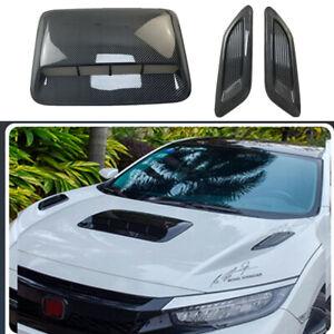 Carbon Fiber Car Hood Scoop Center & Side Air Flow Vent Intake Decorative Cover