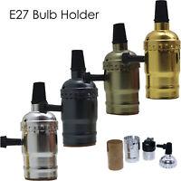 3x Vintage Industrial Lamp Light Bulb Holder Antique Retro Edison ES E27 Fitting