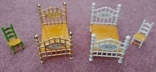 Vintage Mattel Doll House Metal 4 Poster Beds and Chairs 1980