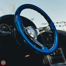 "VIILANTE 2"" DEEP DISH 6-HOLES STEERING WHEEL **ELECTRIC BLUE CHROME** SCION tC"