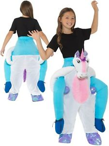 Girls Piggyback Unicorn Costume Ride On Fancy Dress Outfit 12 Years New