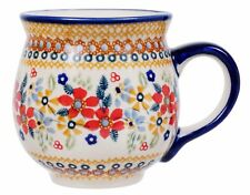 "~Polish Pottery~Belly/Bubble Mug Coffee Tea 16oz ""Ruby Bouquet"" Handmade UNIKAT"