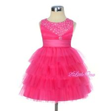 Beaded Satin Tulle Party Pageant Wedding Flower Girl Dress Hot Pink Sz 6m-3T 292