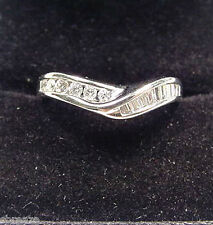 BAGUETTE & ROUND DIAMOND ACCENT BAND 14K WHITE GOLD RING