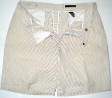 Mens 38 Greg Norman Seersucker Cotton Shorts Tan White Stripes