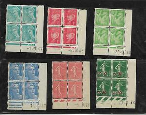 lot de 6 blocs de 4 timbres france avec coin daté