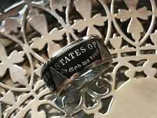 LOWER PRICE Living history -Morgan Silver Dollar Coin Ring-.900 silver  Black PC