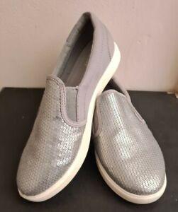 Crocs Size 7 Women's Silver Sequin Dual Comfort Slip On Shoes