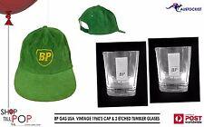 BP GAS Vintage Cap & 2 etched tumbler glasses 1960's USA Garagenalia RARE!!!