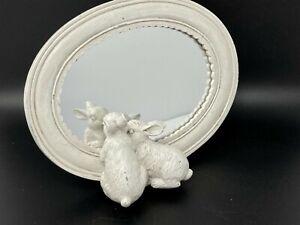 "White Distressed Bunny Rabbit Resin Mirror 8.5"""