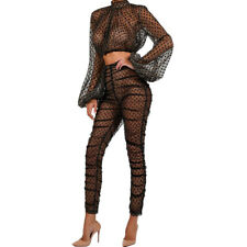04f14592cf6 Sexy Women Mesh Perspective Dot Print Long Puff Sleeve Bodycon Club Jumpsuit  2pc