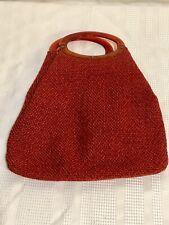 Vtg.Tweed Knitting Tote Handbag With Faux Tortoise Shell Plastic Handles-50's