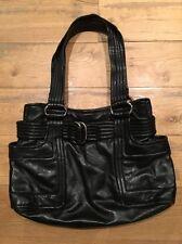 Kooba Black Leather Bag Quilted Shoulder Straps Pockets Silver Hardware