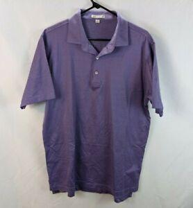 Peter Millar Men's Sz L Polo Purple Pattern 100% Cotton Rugby