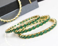 Indian Bollywood Gold Plated Ethnic Green Bangle Bracelet  Partywear Jewellery