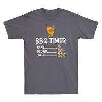 BBQ Timer Rare Medium Well Beer Funny Men's Short Sleeve T-Shirt Black Navy Tee