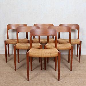 6 Niels Moller Model 75 Dining Chairs Teak Set Of Six Denmark 1970