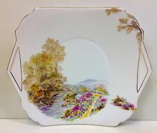 "Shelley ""Heather"" Pattern Tab Handle Cake Plate."