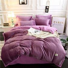 Thick Flannel Velvet Bedding Set Fleece Soft Duvet Cover Bed Sheet Pillowcases
