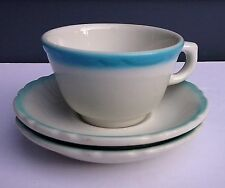 Vintage restaurant ware vitrified china tea cup saucers Sterling turquoise trim