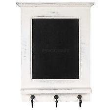White Wall Unit Chalk Memo Notice Black Board Shelf Rack Coat Key Hooks Decor
