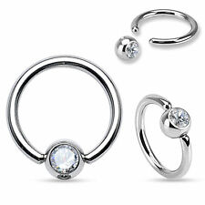 "2PCS 16G 5/16"" TINY CLEAR CZ STEEL CAPTIVE BEAD RING NOSE SEPTUM NIPPLE EAR HOOP"