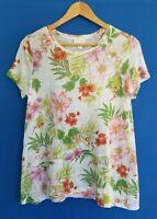 J. Jill Love Linen Women's Small 100% Linen Floral Top Shirt