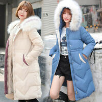 Women Winter Jacket With Fur Hood Long Down Warm Parka quilted puffer Coat UK