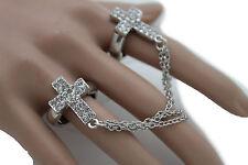 Women Silver Long Metal Chains Fashion Double Rings 2 Fingers Cross Charm Church