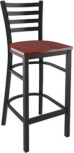 Ladder Back Metal Restaurat Bar Stool in Black Finish and Mahogany Wood Seat