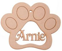 Wooden mdf Paw Print Personalised with Name Pet Christmas Bauble Memorial tag