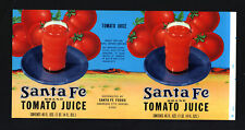 "Vintage Santa Fe Tomato Juice Original Can Label 13.5""x6.75"" Litho Combined Ship"