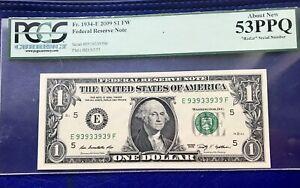"2009  $1 FRN 'RICHMOND'Binomial RADAR NOTE ""93939393"" PCGS 53 ABOUT NEW"