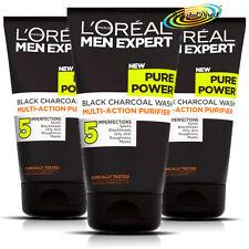 3x Loreal Men Expert Pure Power Black Charcoal Wash 150ml