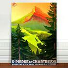 """Vintage Travel Poster Art CANVAS PRINT 36x24"""" St Pierre De Chartreuse Mountain"""