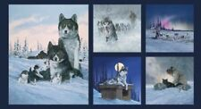 Siberian Husky Dog Pups Sled Blue Cotton Quilting Fabric Panel