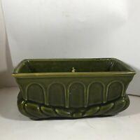 Vintage Ceramic Pottery Green Archways Planter