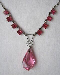 Vintage Deco Czech Cranberry Glass Drop Necklace