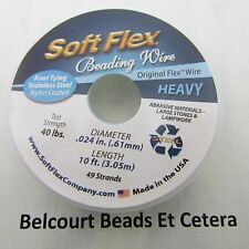 Soft Flex .024 (.61mm) 10 Feet (3.05 Meters) Satin Silver 49 Strands Made:  USA