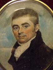 GEORGIAN HAND PAINTED MINIATURE PORTRAIT FOLLOWER OF GEORGE ENGLEHEART