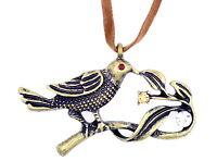 Vintage Art Deco bronze bird necklace with sparkly crystal eye