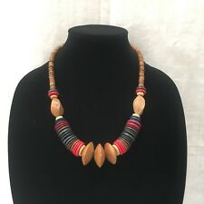 Artisan Made Boho Hippie Vintage Coloured Wooden Beaded Statement Necklace