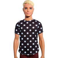 Barbie Fashionistas Ken Doll Wearing Polka Dot Top & Red Pants, Blonde, # 14 NEW