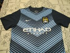 Manchester City Fc Football Club Nike Authentic Soccer Jersey- Lg Pre-Match Top