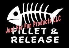WHITE Vinyl Decal Fillet Release fish fishing bones lake boat sticker fun